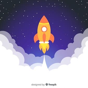 Cohete espacial moderno con diseño plano