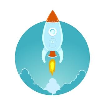 Cohete espacial volando en el cielo, ilustración en color