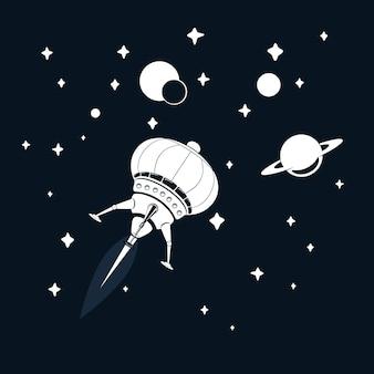 Cohete espacial volando en el espacio con estrellas y saturno
