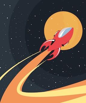 Cohete espacial volando
