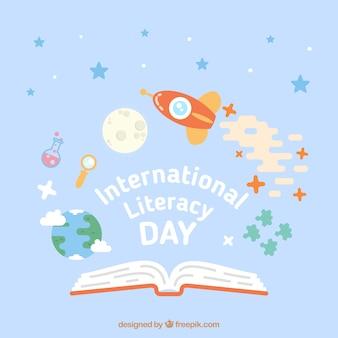Cohete en el espacio para celebrar el día de la alfabetización