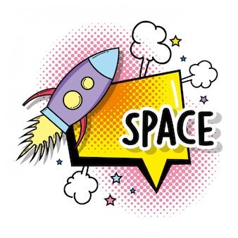 Cohete con espacio de estrellas y burbuja de chat.