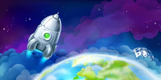 Cohete en el espacio, ilustración vectorial