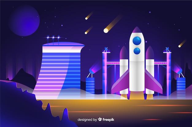 Cohete de estilo degradado en una plataforma de lanzamiento
