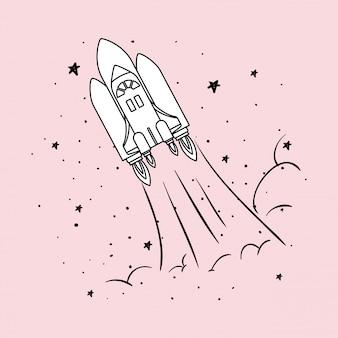Cohete y estrellas