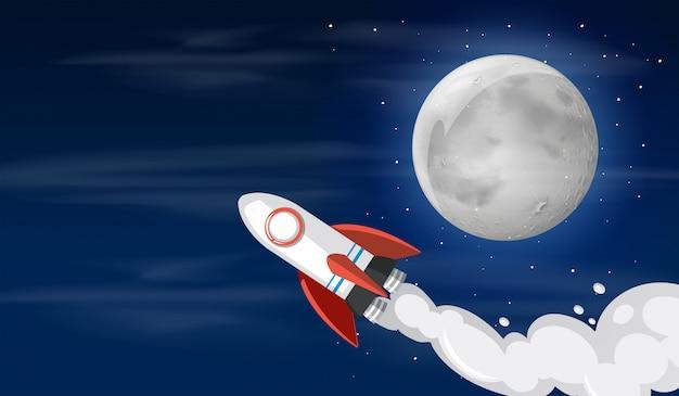 Un cohete en la ilustración del cielo