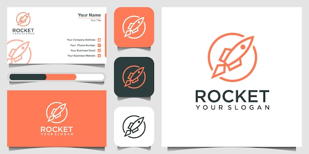 Cohete con ilustración de icono de estilo de arte de línea. y tarjeta de visita