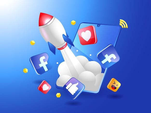 Cohete impulsando el marketing digital de facebook con un teléfono inteligente