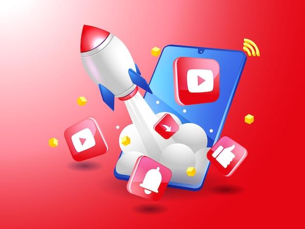 Cohete impulsando el marketing digital de youtube con un teléfono inteligente