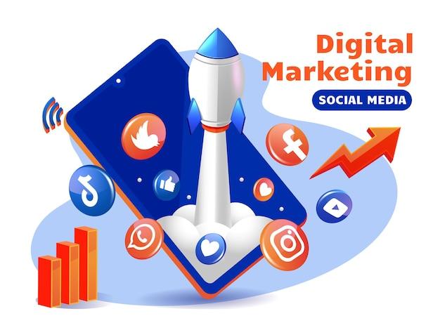 Cohete impulsando las redes sociales de marketing digital con teléfonos inteligentes