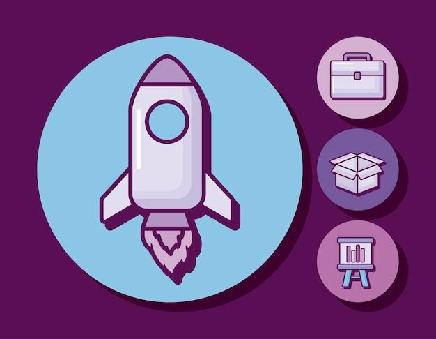 Cohete de inicio con iconos de negocios