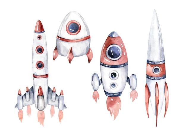 Cohete y lanzadera aislado ilustración acuarela nave espacial sobre fondo blanco.