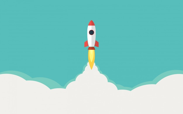 Cohete, lanzamiento de misiles en diseño plano e ilustración de cielo azul