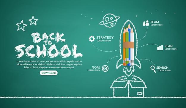 Cohete de lápices de colores lanzando fuera de la caja infografía