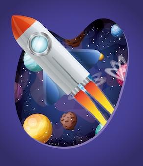 Cohete con llamas y planetas.