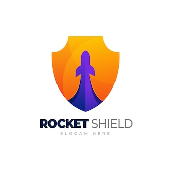 Cohete con logotipo de escudo de cohete con plantilla de logotipo degradado de escudo