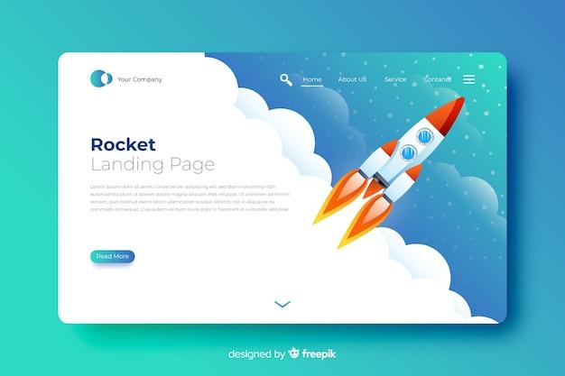 Cohete en la página de aterrizaje del cielo