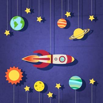 Cohete de papel en el espacio