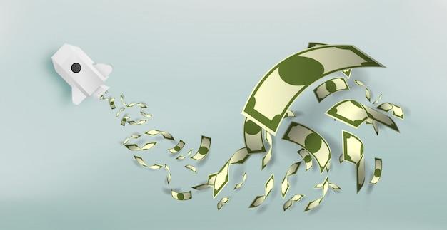Cohete de papel con una gran cantidad de ilustración vectorial de dinero