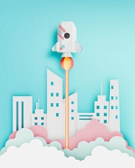Cohete de papel con la ilustración de vector de fondo de tono pastel