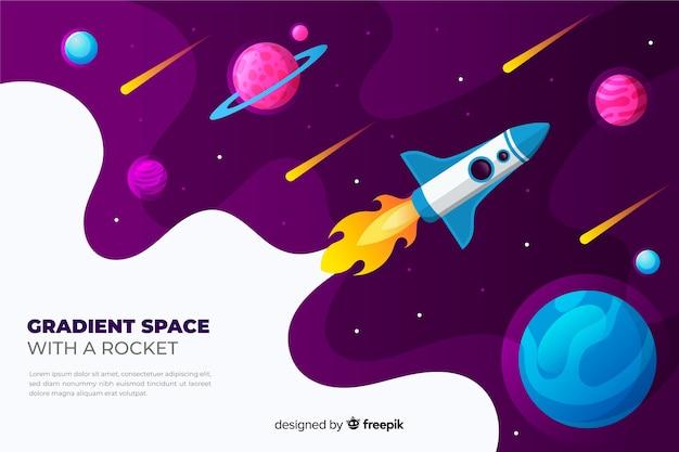 Cohete plano degradado viajando por la galaxia