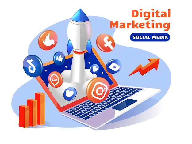 Cohete que impulsa las redes sociales de marketing digital con una computadora portátil