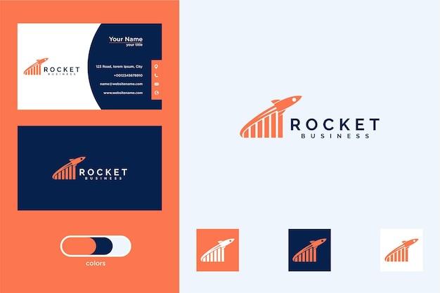 Cohete con signo ascendente diseño de logotipo moderno y tarjeta de visita