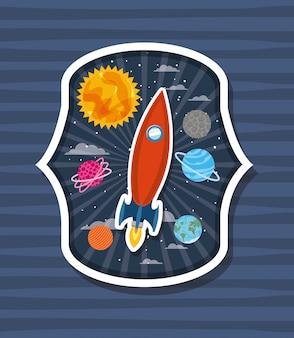 Cohete sobre etiqueta con planetas