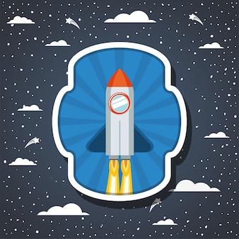 Cohete sobre nubes y puntiagudo.