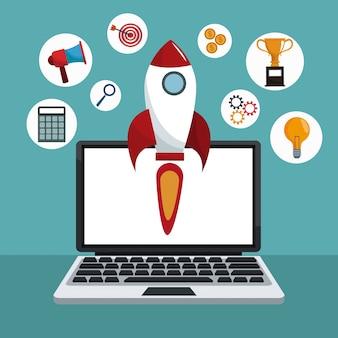 Cohete de tecnología de marketing digital