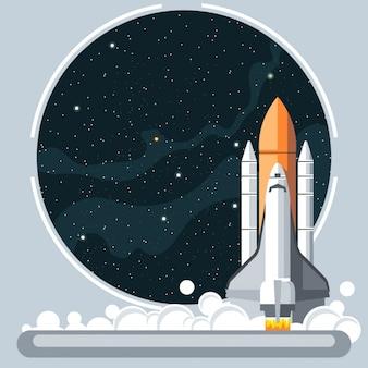 Cohete y ventanilla de nave espacial
