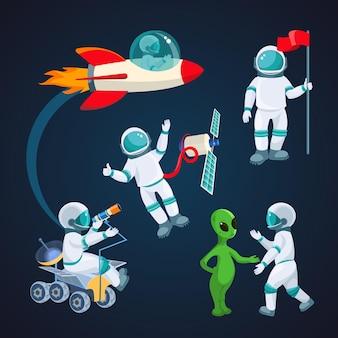 Cohete volador, astronauta con satélite, cosmonauta con bandera roja, alienígena hablando con astronauta, científico con telescopio aislado alrededor del planeta rojo en el fondo de la ilustración del cielo cósmico