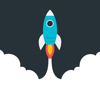 Cohete volador estilizado plano. objeto estilizado plano