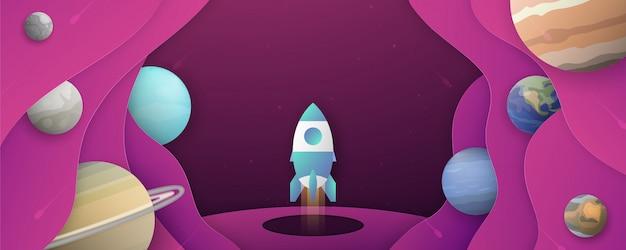 Cohete está volando en el espacio de la galaxia del universo ilustración