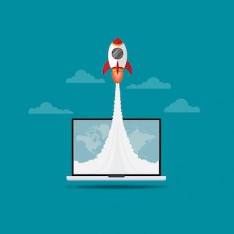 Cohete volando fuera de la pantalla del portátil