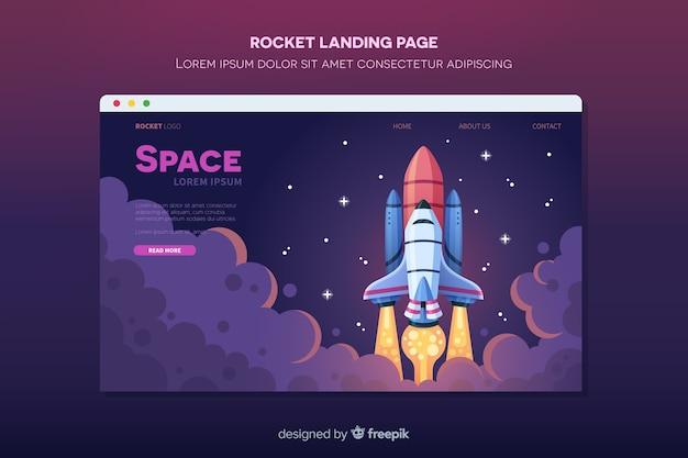 Cohete volando en la página de aterrizaje espacial