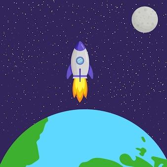 El cohete vuela a la luna. sistema solar, espacio.