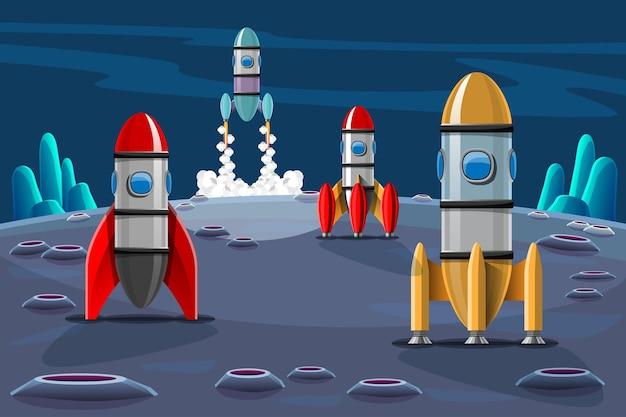 Los cohetes se lanzan desde la estación al espacio exterior. conjunto aislado de lanzamiento de cohetes. cohetes de misión espacial con humo. ilustración en estilo 3d