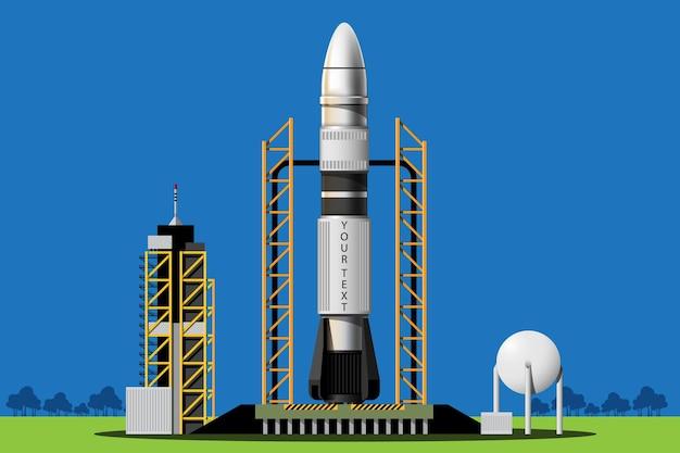 Los cohetes se lanzan desde la estación al espacio exterior. conjunto aislado de lanzamiento de cohetes. ilustración en estilo 3d