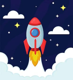 Cohetes o naves espaciales están explorando las estrellas.