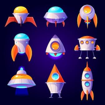 Cohetes ovni y lanzaderas aislados en la pared azul de dibujos animados diseño futurista de diferentes naves espaciales en el cosmos platillo volante cohetes y satélites no identificados