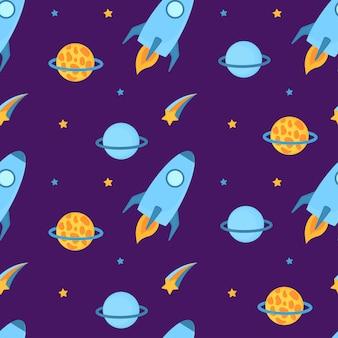 Los cohetes vuelan en el espacio con planetas y estrellas de patrones sin fisuras
