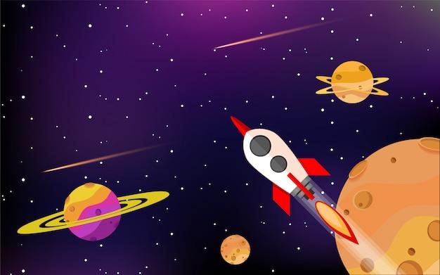 Los cohetes vuelan entre hermosos planetas en la galaxia.