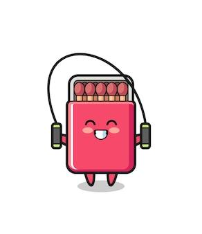 Coincide con la caricatura de personaje de caja con saltar la cuerda, diseño lindo