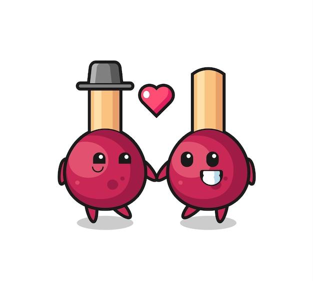 Coincide con la pareja de personajes de dibujos animados con gesto de enamorarse, diseño de estilo lindo para camiseta, pegatina, elemento de logotipo