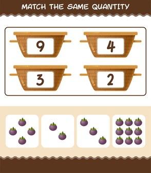 Coincidir con la misma cantidad de mangostán. contando juego. juego educativo para niños y niños pequeños en edad preescolar.