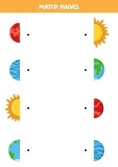 Coincidir con las mitades del planeta del sistema solar y el sol