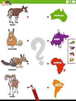 Coincidir con la tarea educativa de especies animales y continentes.