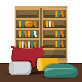 Cojines y estanterías con diseño colorido icono de libros