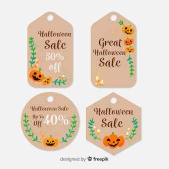 Cojunto adorable de etiquetas de halloween